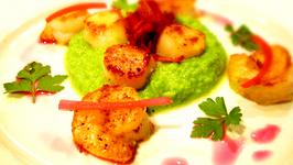 Pea Puree with Shrimp, Scallops & Bacon