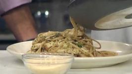 Healthy Chicken Shiitake Mushroom and Pesto Linguine