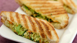 Cabbage, Carrot and Paneer Grill Sandwich by Tarla Dalal