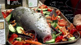 Oven Roasted Dinner - Whole Salmon w Pesto Garlic Veggies - CFJC Midday - Easy Real Whole Food Fast!