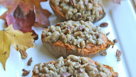 Twice Baked Sweet Potatoes with Butter Pecan Streusel Thanksgiving Collaboration