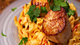 Pico de Gallo Pasta with Seared Scallops