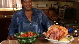 Holiday Series: Spiced Rum and Peach Glazed Ham and Candied Yams (Cooking with Carolyn)