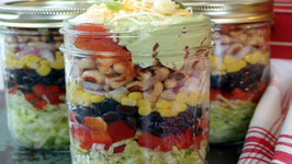 Southwestern Layered Salad and Edible Flower