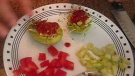 Raw Avocado Boats with Sprouts and Vegetable Filling