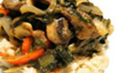 Blood Orange Ginger Teriyaki Beef & Rapini Over Brown Rice Cookin Greens Rapini