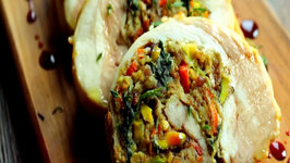 Pistachio-Bacon Turkey Roulade with Pomegranate Gastrique