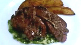 Pomegranate Grilled Lamb Shoulder Chops with Fresh Mint and Orange Sauce