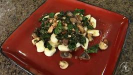 Potato Gnocchi Sauteed with Mushrooms, Kale and Bacon
