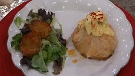 Valentine Dinner - Shrimp and Crab Newburgh in a Phyllo Purse, Warm Forelle Pears Salad and Chocolate Fondue