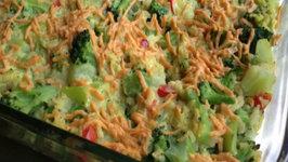 Vegan Creamy Cheesy Broccoli Rice Casserole