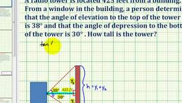 Ex: Find Height of Building Using Angle of Elevation and Angle of Depression