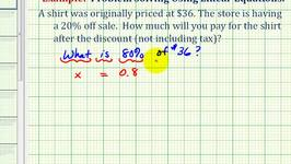 Ex:  Percent Equation to Determine a Sale Price