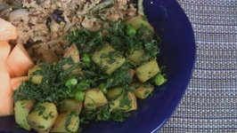 Spiced Potatoes with Peas and Kale