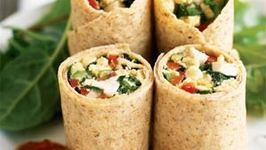 Herbed Cheese and Greens Wrap Works with Cookin Greens Chopped Rapini, Spinach, Kale or Athletes Mix