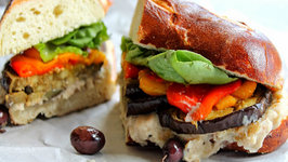 Eggplant with Peppers and Cannellini Bean Mash Sandwich