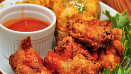 Coriander Crumbed Wings and Potato Wedges