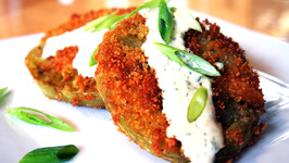 Fried Green Spicy Tomatoes with a Creamy Remoulade Sauce