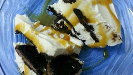 Oreo Ice Cream Cake with Caramel Sauce