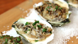 Exotic Baked Oysters In Half Shell