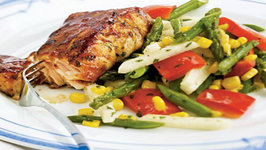Grilled Barbecue Salmon with Asparagus, Jicama, Pepper, and Corn Salad