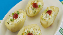 Cheesy Stuffed Potatoes by Tarla Dalal