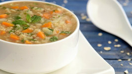 Minty Vegetable and Oats Soup (Fibre Rich & Low Calorie) by Tarla Dalal