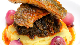 Great Fish Dish with Braised Greens and Creamy Mash
