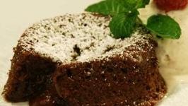 Chocolate Pudding Cake with Vanilla Ice Cream