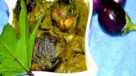 Vankai Gongura - Baby Eggplants in Tangy Sorrel Leaves Gravy