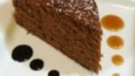 Aztec Chocolate Cake Chocolate Sauce and Caramel Sauce