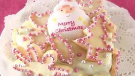 White Chocolate Coated and Cookie Jeweled Christmas Fruit Cake