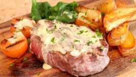 Fillet Steak in Champagne Sauce and Chips - Valentines Day