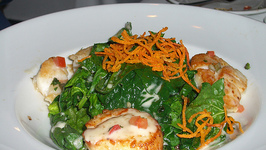 Scallops On Spinach