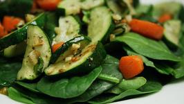 Marinated Vegetable Spinach Salad