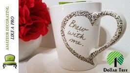 DIY Dollar Tree Valentine Heart Mugs - Personalized Coffee Mugs