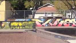 young skateboarder falls off board behind wall