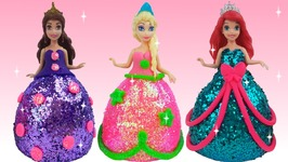 DIY Play Doh Glitter Disney Princess Dr.. & DIY Play Doh Glitter Disney Princess Dresses Magiclip Modeling Clay ...