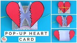 Pop Up Heart Card Tutorial - How to Make a Pop Up Heart Break Card Step-By-Step with Narration!