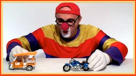 Crazy Toy Car Clown - Motorbike And Rickshaw Taxi Rescue  Children's Toy Video Demos