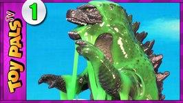 Birth Of Godzilla Toys Hatching In Slime Surprise Eggs  Godzilla Vs Dinosaurs Toys Video 1
