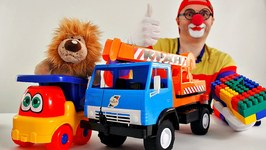 Toy Cars Clown - Brave Lion's Lego Crane Challenge - Toy Trucks Funny Videos For Kids
