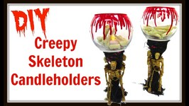 Creepy Skeleton Candle Holders  DIY Project  Dollar Store Craft  Craft Klatch  How To