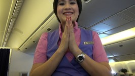 Thai Airways Night Flight, Bangkok To Brisbane, Boeing 777-200