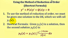 Shortcut Reduction of Order - Linear Second Order Homogeneous Differential Equations Part 2
