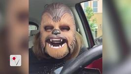 Woman Gets The Real Chewbacca's Attention with her New Mask