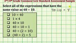 Evaluate Expressions (Common Core 3/4 Math Ex 2)