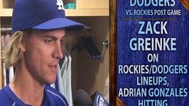 Dodgers vs. Rockies Post Game - Zack Greinke On Adrian Gonzalez's Hitting, Rockies Matchups