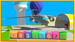 Learn Simple Numbers - Passenger Jet Airplane - Cartoon Airport Demo  1-8 Construction Game 6