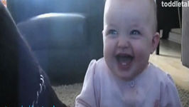 Baby Girl Laughing Hysterically at Dog Eating Popcorn  Laughing Babies